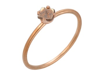 Champagne, Orange Mocha Rose Cut Diamond Slice Solitaire Ring, 14kt Rose Gold Stacking Ring, Gevani Jewelry