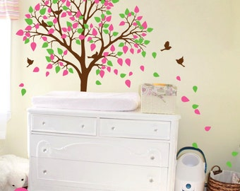 Modern Nursery Fall Tree Wall Decal Children's Room decor with Flying Birds and cute Leaves - 030