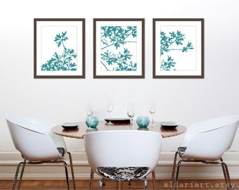 Autumn Tree Art Prints Set of 3 - 11x14 - Teal Blue Wall Art -  Modern Nature Art - Maple Tree - Fall Decor