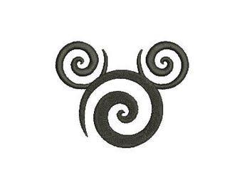 27 Sizes Swirl Swirly Scroll Disney Mickey Mouse Head Ears Design Embroidery Fill Machine Instant Download Digital File EN2136F2