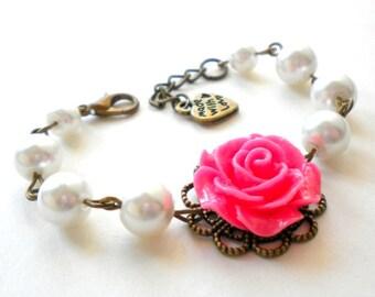 Flower Girl Wedding Jewelry Pink Flower Bracelet Children Jewelry Flower Girl Gift Beadwork Pearl Bracelet Flower Girl Bracelet Rose Jewelry