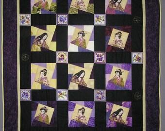 Grand patchwork geishas jaune et violet