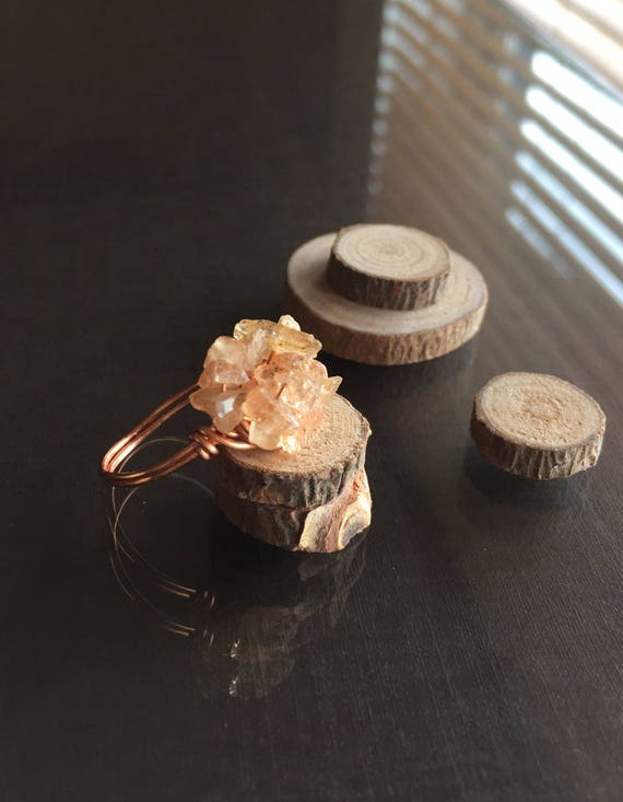 Raw Imperial Topaz Ring Imperial Topaz Cluster Ring Size USRaw Imperial Topaz