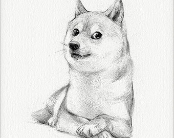 "Doge - 5 x 7"" print (doge drawing, many art, so artwork, such internet, much shiba inu, very shibe, such decor, wow)"