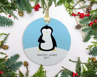 Personalized Christmas Ornament, Baby Boy Ornament, Blue Penguin Ornament, Baby's 1st Christmas 2017