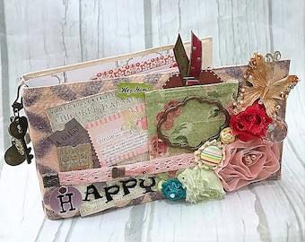HAPPY Canvas Covered Maya Road Chipboard Binder Scrapbook Mini Album