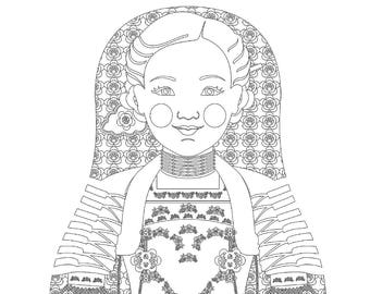 Swiss Girl Matryoshka Coloring Sheet Printable file