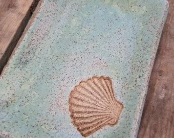Handmade pottery plate. Aqua sea shell snack plate or tray. Beachy nautical pottery.