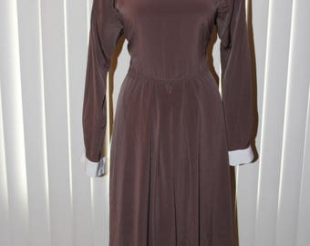 Vintage 90s Chocolate Brown Liz Roberts Peter Pan Collar Long Sleeve Peasant Pilgrim Dress