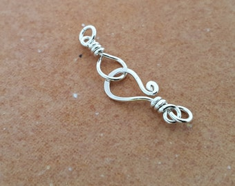 Sterilng silver clasps, silver hook clasp, sterling silver findings, small silver bracelet clasps, necklace clasp, hook and eye silver clasp