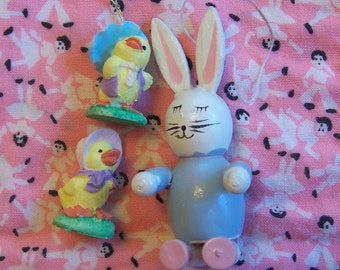 little wooden bunny and two chicks