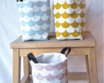 Pink, printed cotton storage basket waves, sturdy leather handles. 1 piece