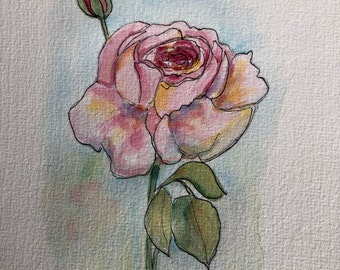 An Original Pen and Ink and Watercolor, Rose