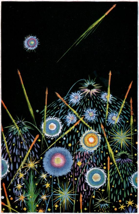 fireworks vintage art deco illustration  digital deco