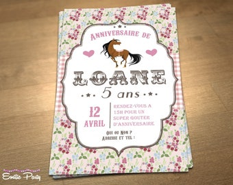 Personalized printable birthday invitation theme: pony