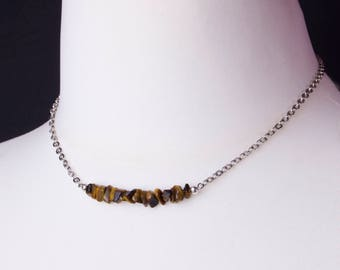 Tigers eye necklace - Simple brown gemstone nugget bar silver necklace | Tigers eye stone jewellery | Raw Tigers eye chipstone jewelry