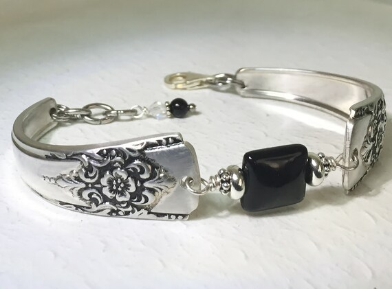 Spoon Bracelet, Silverware Jewelry, Black Onyx Gemstone, 'Mountain Rose' 1954