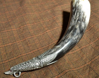 VIKING DRINKING HORN with tin terminal Shetlands Scotland Ninian's Isle Celts Celtic Vikings