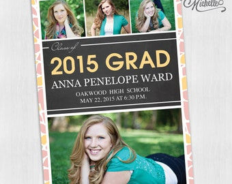 Pink and Gold Floral Multi Picture Graduation Announcement