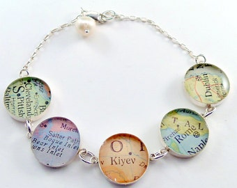 Map Bracelet - You choose Five cities in the WORLD