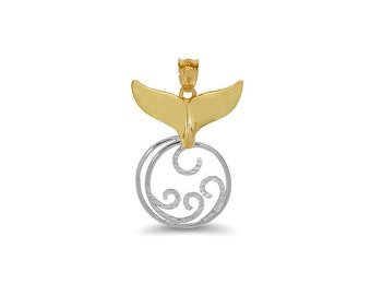 14k solid gold two tone whale tail and wave pendant. tropical pendant.