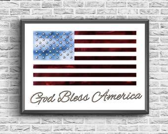 God Bless America | Stars And Stripes Print | Patriotic Wall Art | USA Flag Print | American Flag Print | Patriotic Print | Patriotic Decor