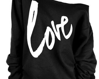 LOVE print oversized off shoulder raw edge  sweatshirt