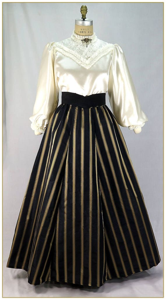 Victorian Costumes: Dresses, Saloon Girls, Southern Belle, Witch Victorian Black and Gold Stripe Skirt $65.00 AT vintagedancer.com