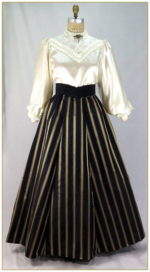 Victorian Skirts | Bustle, Walking, Edwardian Skirts Victorian Black and Gold Stripe Skirt $65.00 AT vintagedancer.com