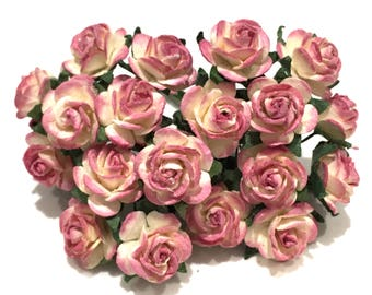 Pink And Cream Open Mulberry Paper Roses Or121