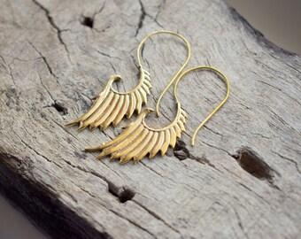 Tribal Brass , Nickel free , Gold Plated Handmade Earrings - Gift earrings - Ancient inspired Design #B20