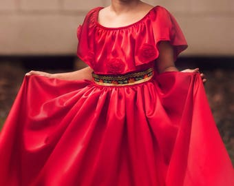 Princess Elena Avalor Inspired  Princess Dress, Red Princess Dress Costume, Elena of Avalor Princess Dress Birthday Princess Costume