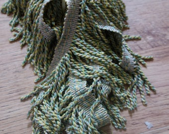 5 yds  pale green vintage upholstery fringe 2.5 inches deep