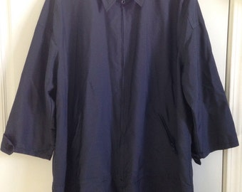 Vintage 90's Mens or Women's unisex navy windbreaker trench duster jacket coat size large