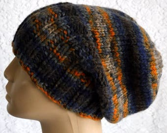 Slouchy hat, watch cap, brimmed beanie, navy blue gray taupe orange rust brown, striped hat, mens womens knit hat, toque, ski hiking V2