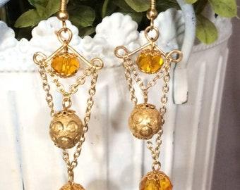 Golden Chandelier Drop Earrings; Gold Dangle Earrings; Gold Statement Earrings; Golden Multi-Strand Drop Earrings; Gold Vintage Inspired