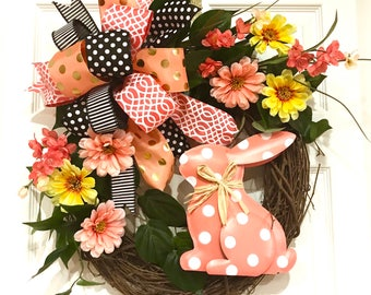 EASTER Wreath Bunny Floral