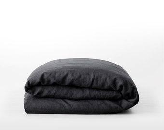 Linen duvet cover. Carbon Black. US Full, US Queen, US King, Euro size