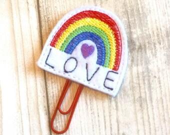rainbow love planner clip, felt paper clip, kawaii, planner clip, planner accessory, planner accessories, planner supplies, rainbows, cute