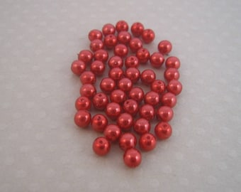 Set of 50 round pearls 4 mm Tangerine - A4-0239