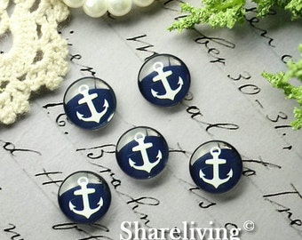 12mm Photo Glass Cabochon, 8mm 10mm 14mm 16mm 20mm 25mm 30mm Round Anchor glass Cabochon - BCH211F