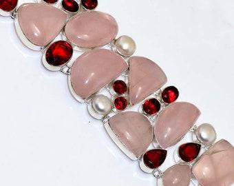 Rose Quartz ,  Garnet Quartz . Pear  HANDMADE 925 Silver Plated Cluster Bracelet B612
