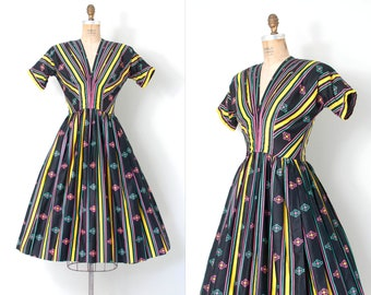 SOLD on LAYAWAY....vintage 1950s dress | 50s striped cotton dress | Anne Fogarty (extra small xs)