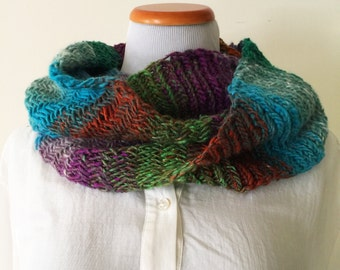 Multicolor Herringbone Cowl – Multicolor Neckwarmer – Infinity Cowl – Infinity Scarf – Hand Knit Scarf
