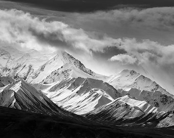 Denali National Park, Landscape Photography, Snowy Mountains, Black and White Landscape, Fine Art Photography, Nature Photography, Clash