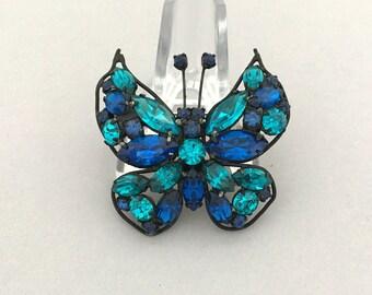 Blue Rhinestone Butterfly Brooch Spring Jewelry Brooch Vintage Jewelry Designer Signed LA ROCO Butterfly Pin Rhinestone Jewelry