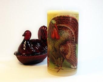 Thanksgiving Turkey Decoration - Thanksgiving Candle - Thanksgiving Decor - Holiday Candle - Thanksgiving Mantel Decor Centerpiece Candle