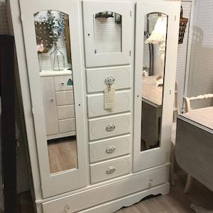 Antique Vintage Armoire, Dresser, Shabby Cottage Style, Farmhouse Chic