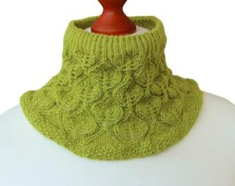 woolen cowl, light cowl, knit collar, alpaca wool, lime green neckwarmer, leaves cowl