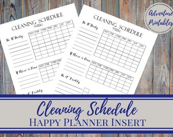Cleaning Schedule - Classic Happy Planner Printable Insert, Cleaning Chores, Weekly Cleaning, Daily Cleaning,  Cleaning Tasks, 7x 9.25 in